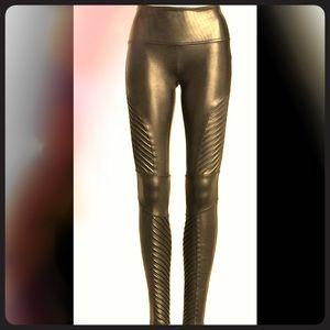 Spanx Black Faux Leather motto L Leggings NWT